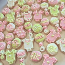 Pale Pink and Green mini baby shower cookies