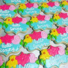 Hello spring plaque cookies