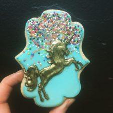 Majestic gold unicorn cookies