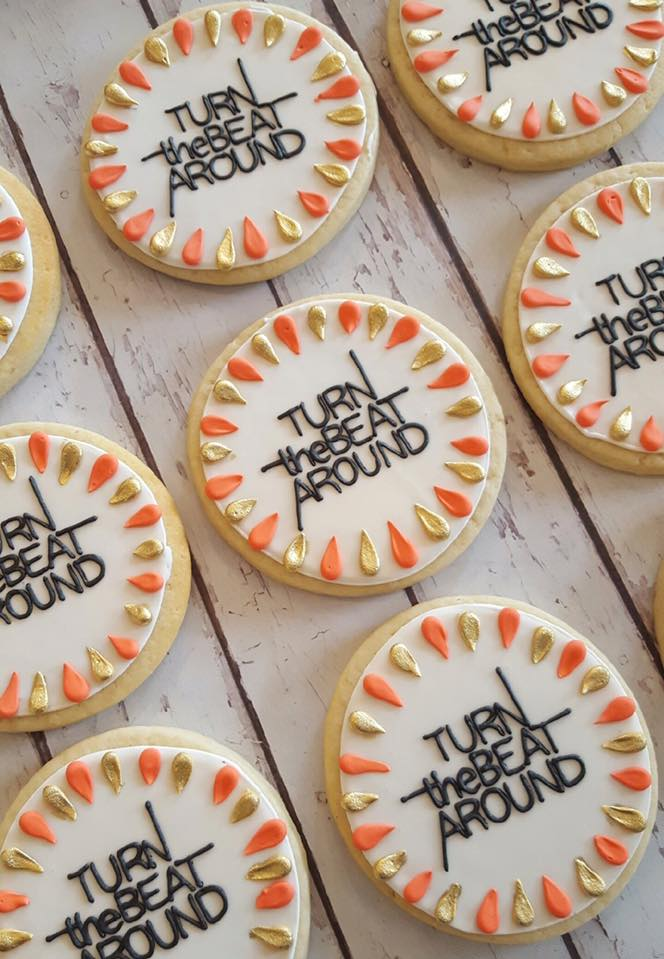 Turn the Beat Around logo cookies