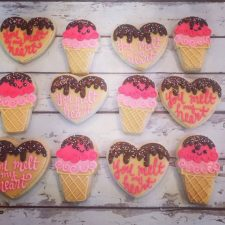 You melt my heart - ice cream valentines cookie set