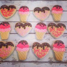 You melt my heart - ice cream valentines cookie set