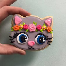 Flower Crown Kitten Cookies