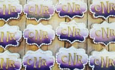 Purple Ombre and Gold monogram cookies
