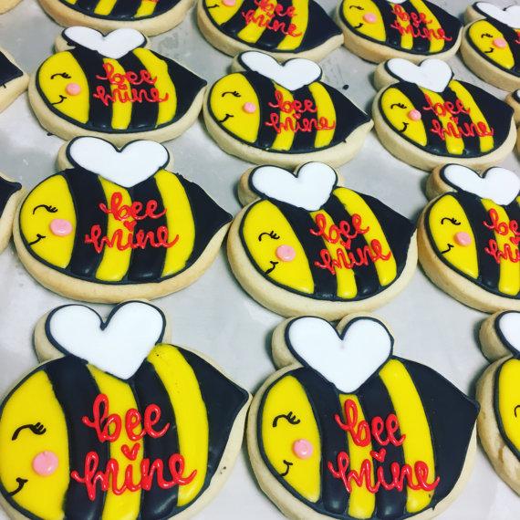 BEE mine valentines day cookies