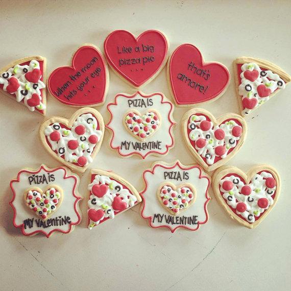 Pizza Is my valentine cookie set