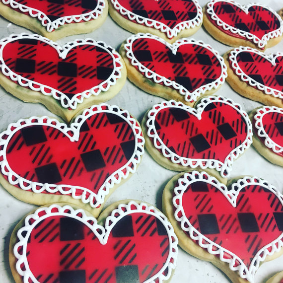 Plaid and lace valentine heart cookies
