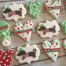 Parisian Mint and Red baby shower cookies
