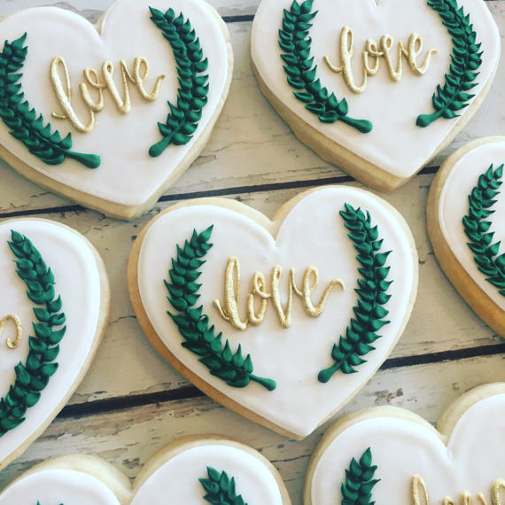 Chic greenery wedding cookies