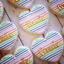 Rainbow and Gold heart cookies
