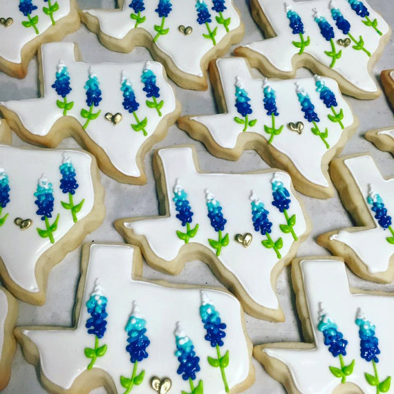 white texas bluebonnet cookies