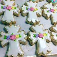 Pastel and gold floral cross cookies