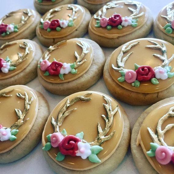mini golden antler cookies