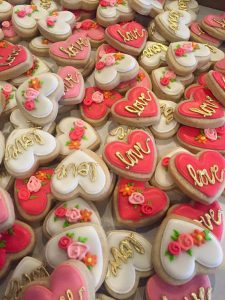 Mini Floral and gold Heart cookies