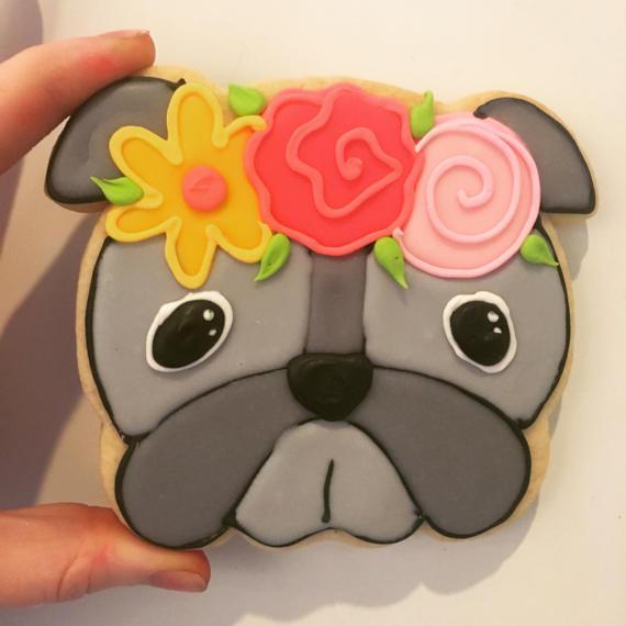 Floral bulldog cookies