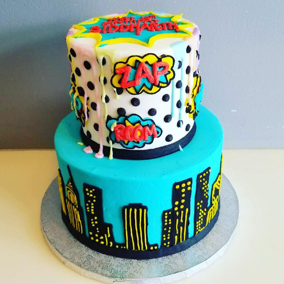 Brilliant Superhero Pop Art Cake With Paint Drip Hayley Cakes And Personalised Birthday Cards Sponlily Jamesorg