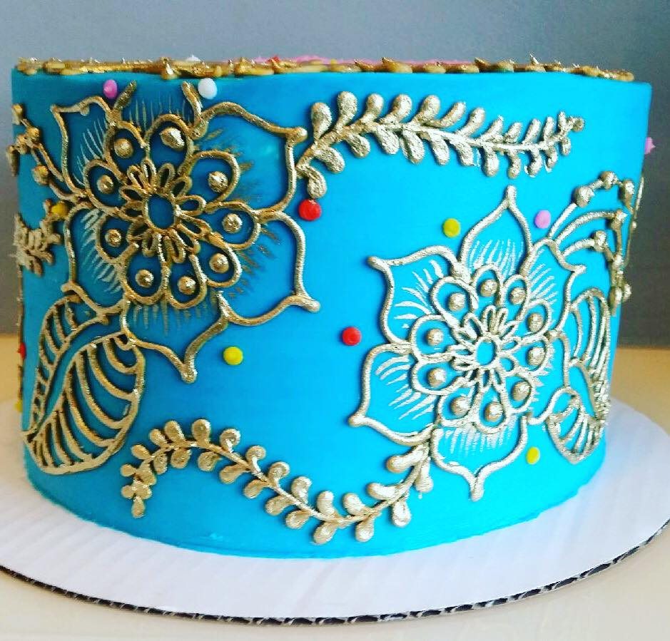 Blue And Gold Henna Cake Hayley Cakes And Cookieshayley Cakes And