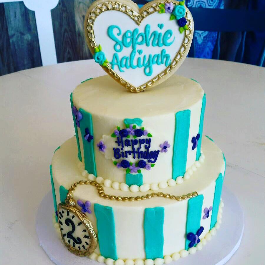 Sophisticated Alice In Wonderland Striped Cake