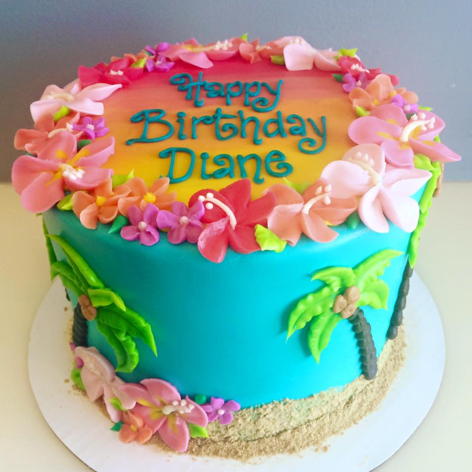 Sunset Beach Cake With Hibiscus Flower Border Hayley Cakes And