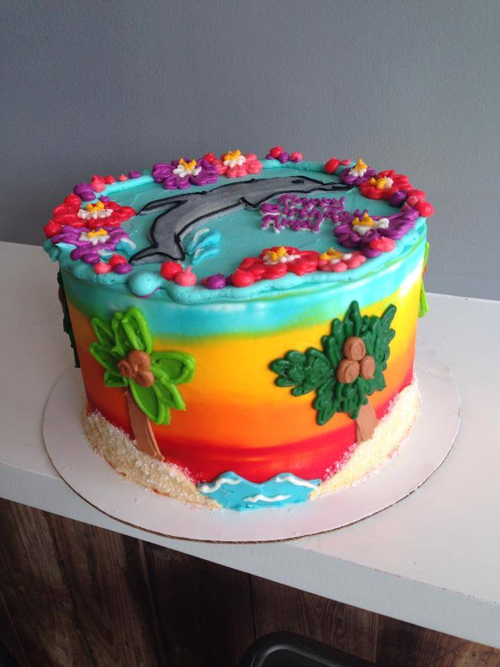 Prime Dolphin Sunset Cake Hayley Cakes And Cookieshayley Cakes And Cookies Funny Birthday Cards Online Alyptdamsfinfo
