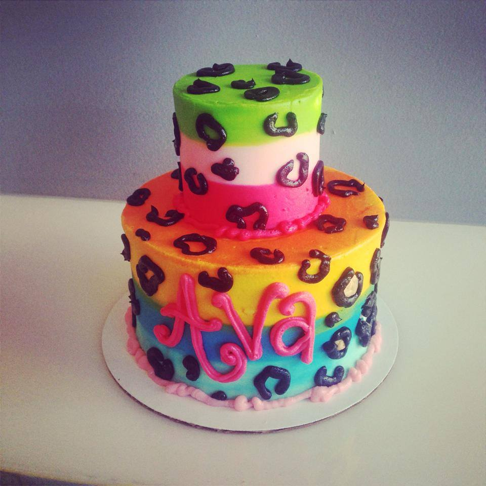 Phenomenal Rainbow Leopard Print Cake Hayley Cakes And Cookieshayley Cakes Funny Birthday Cards Online Elaedamsfinfo