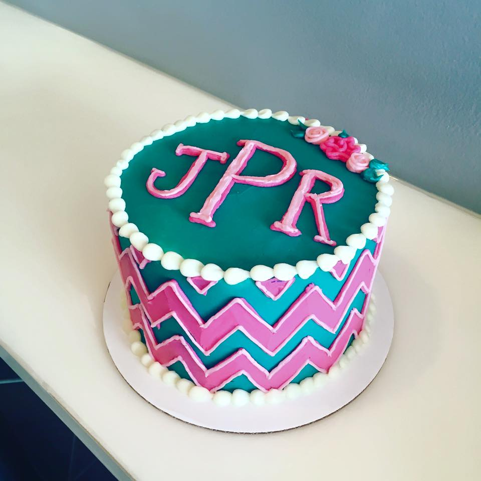 Incredible Monogram Chevron Cake Hayley Cakes And Cookieshayley Cakes And Funny Birthday Cards Online Overcheapnameinfo