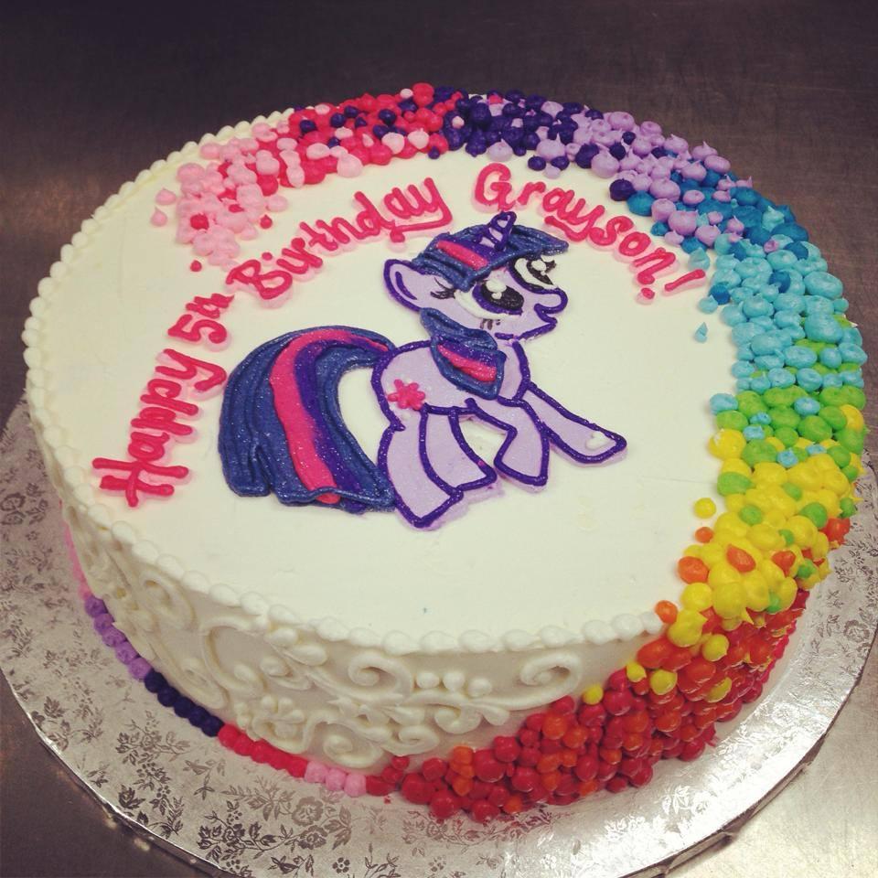 Rainbow dot swirl My little pony cake - Hayley Cakes and