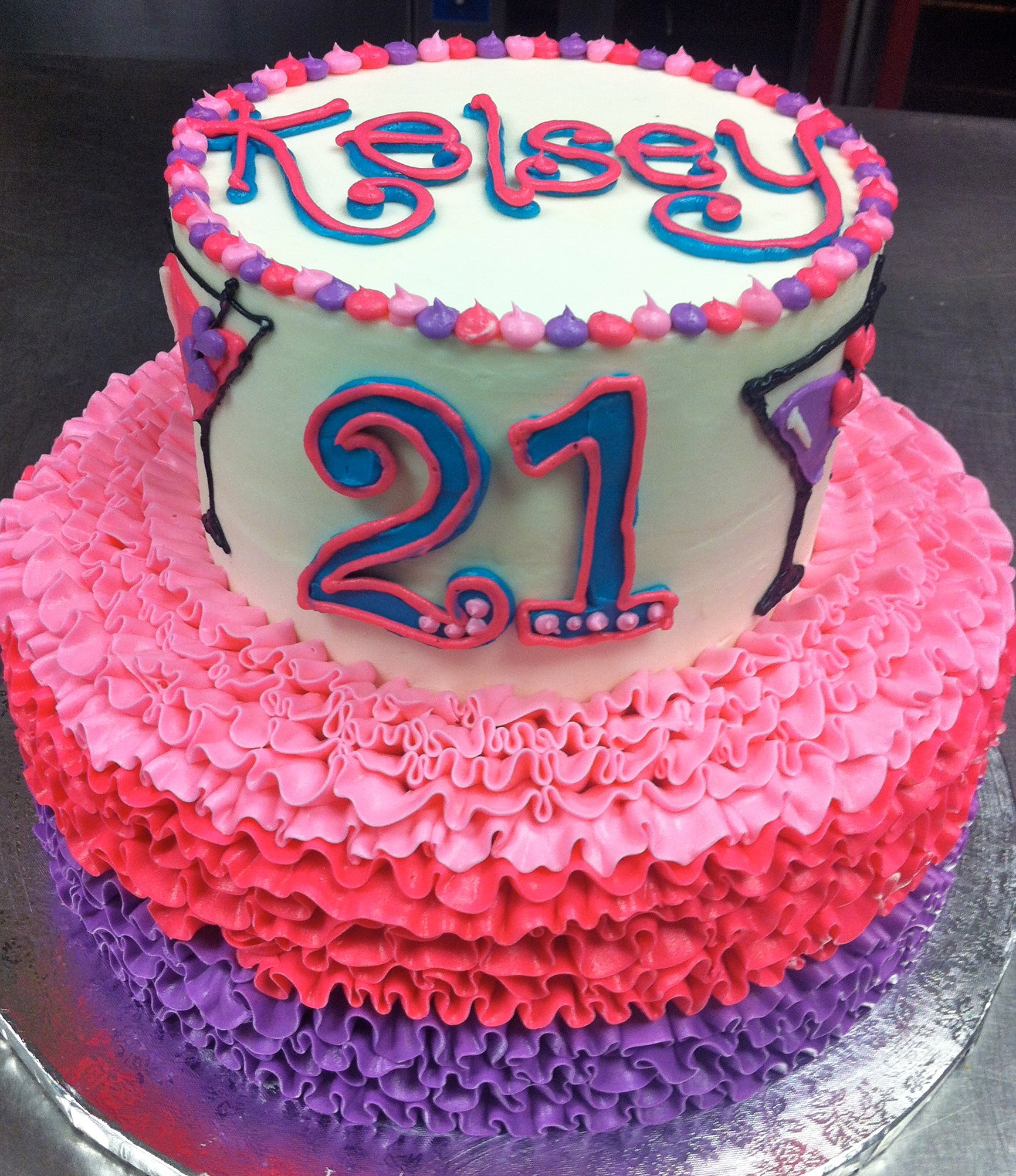 Girly Ideas For Bedrooms: 21st Birthday Girly Ruffle Cake