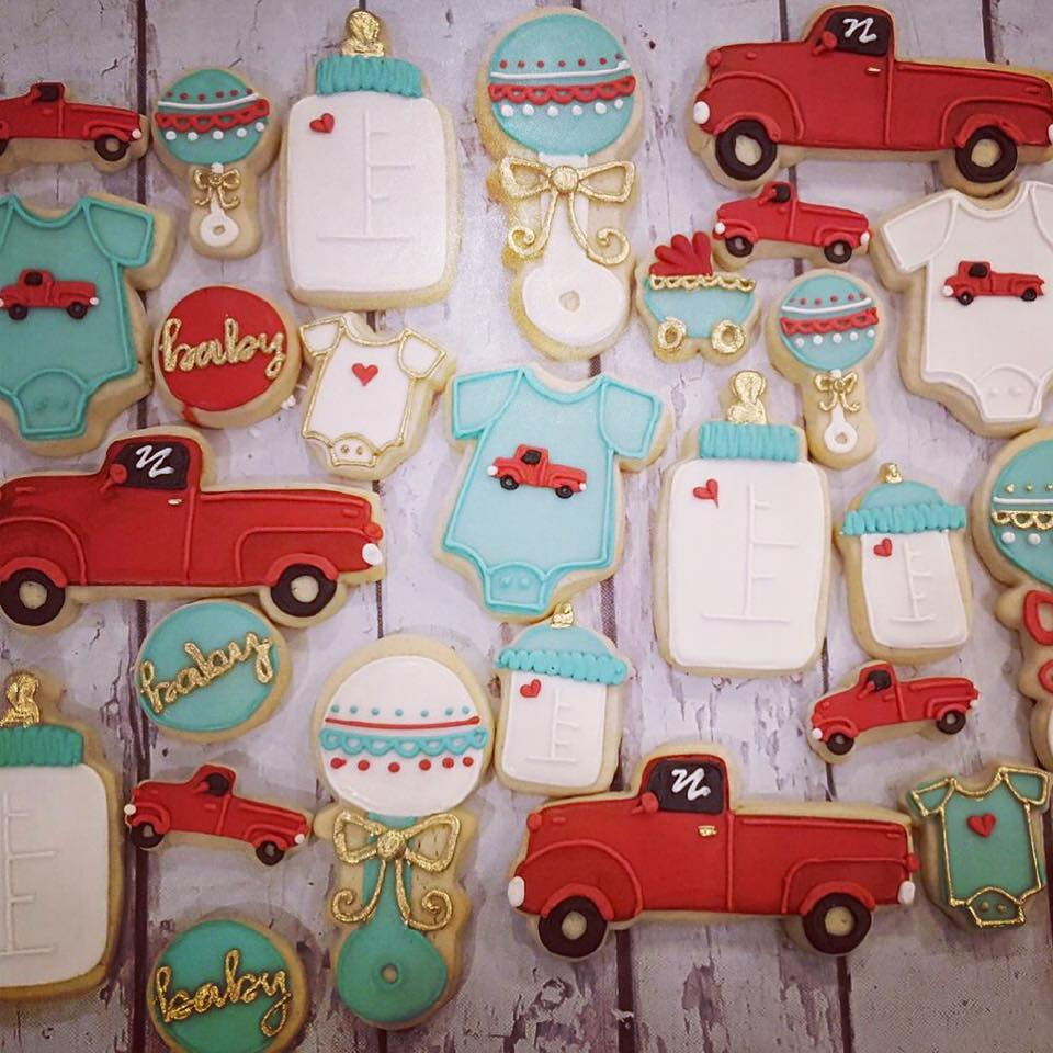 Little red truck baby cookies - LARGE - Hayley Cakes and ...
