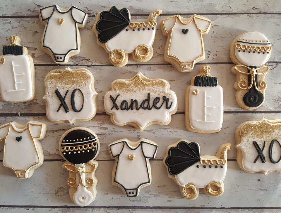 Black, White, and Gold baby shower cookies - Hayley Cakes ...