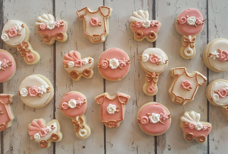 Rose Gold Mini Baby Shower Cookies Hayley Cakes And Cookieshayley