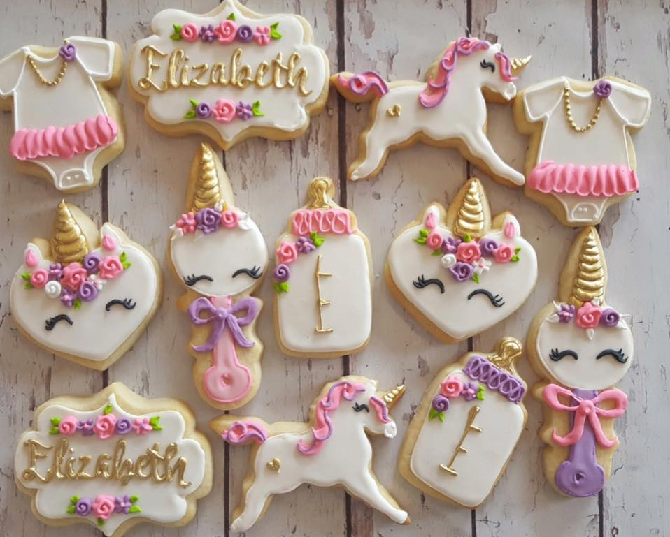 Unicorn Baby shower Cookies - Hayley Cakes and ...