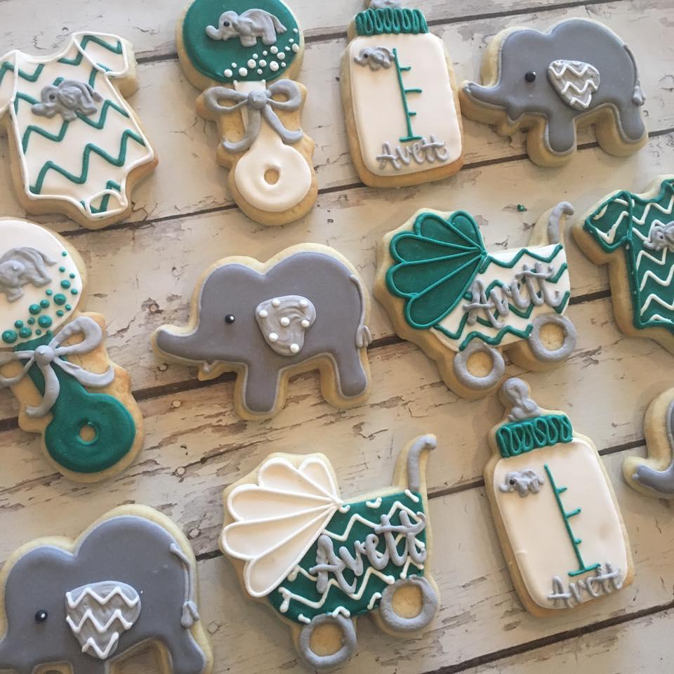 Chevron Elephant baby shower cookies - Hayley Cakes and CookiesHayley Cakes  and Cookies