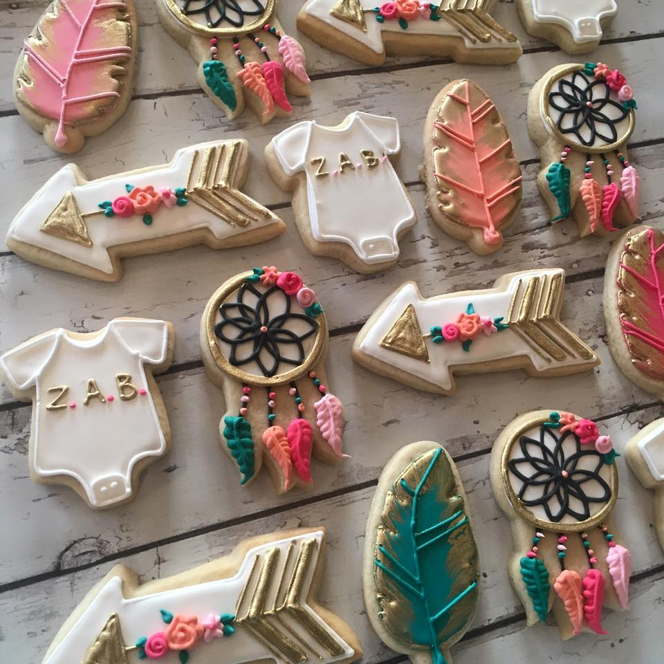 ... Bohemian girly baby shower cookies. Check Availability