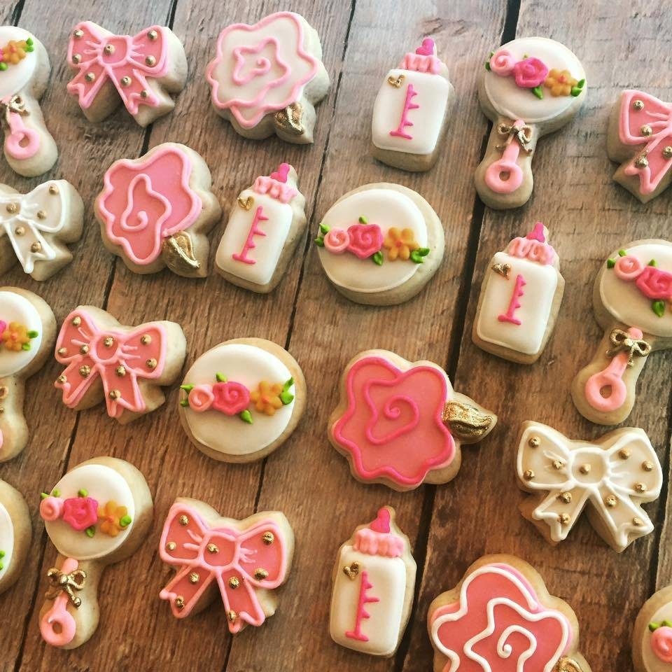 Mini Gold And Pink Baby Shower Cookies Hayley Cakes And