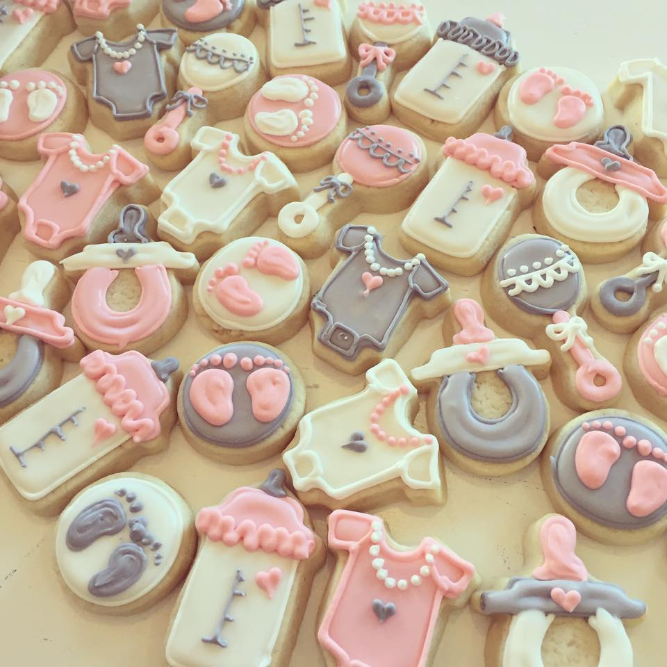 Mini Pink And Grey Baby Girl Shower Cookies Hayley Cakes And Cookieshayley Cakes And Cookies