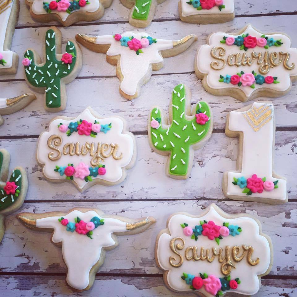 Boho Chic Cactus Birthday Cookies Hayley Cakes And