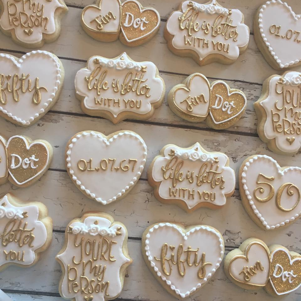 Gold And White 50th Anniversary Cookies