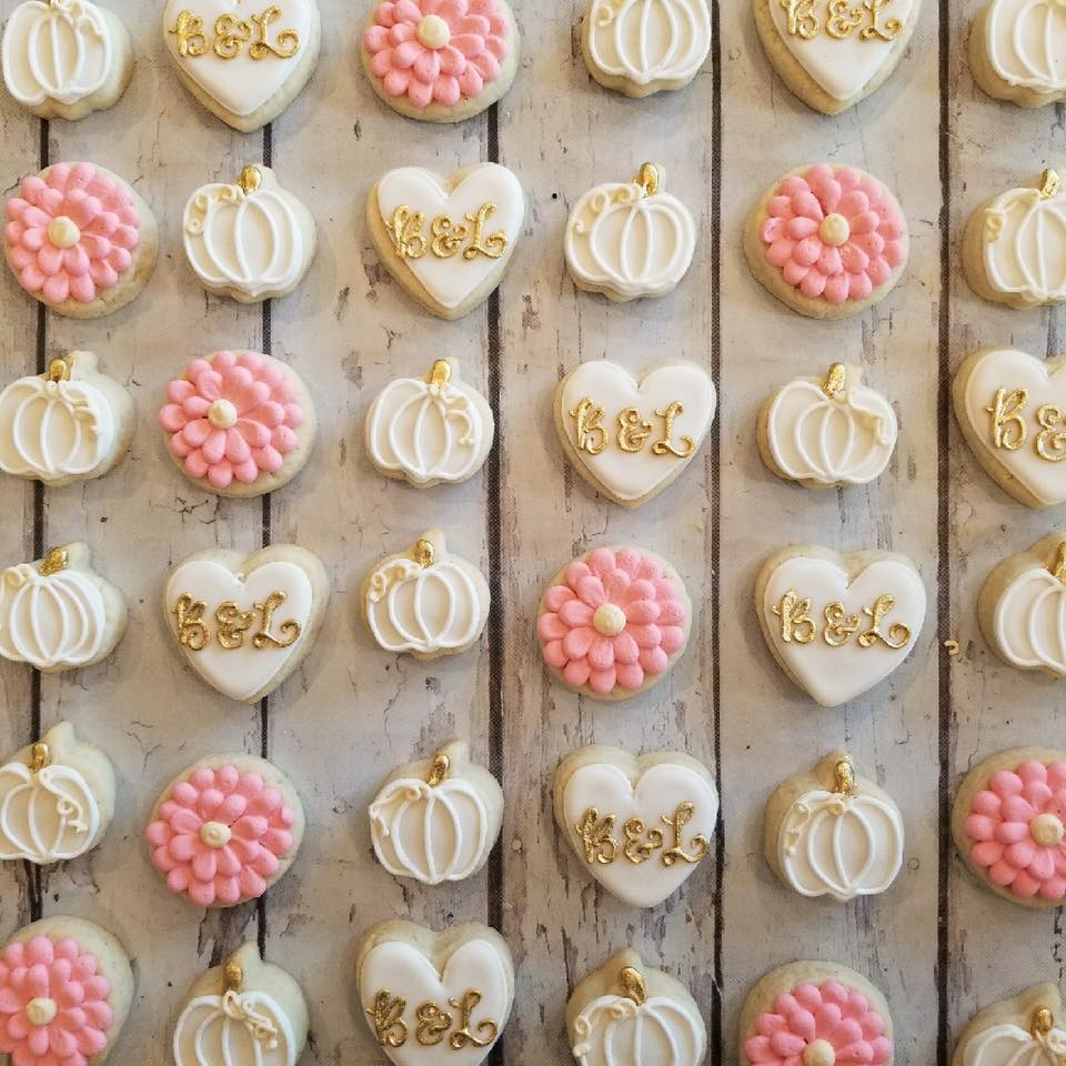Mini Pink and white fall bridal shower cookies - Hayley ...