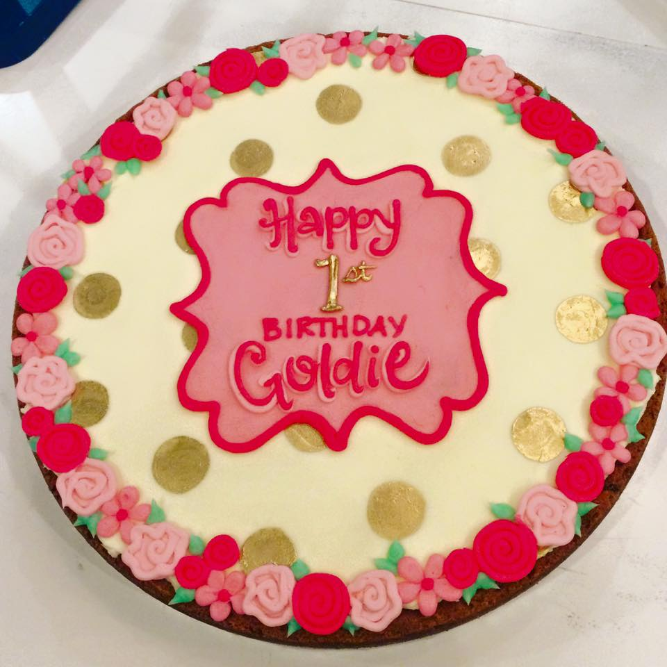 Awesome Goldie First Birthday Cookie Cake Hayley Cakes And Personalised Birthday Cards Veneteletsinfo