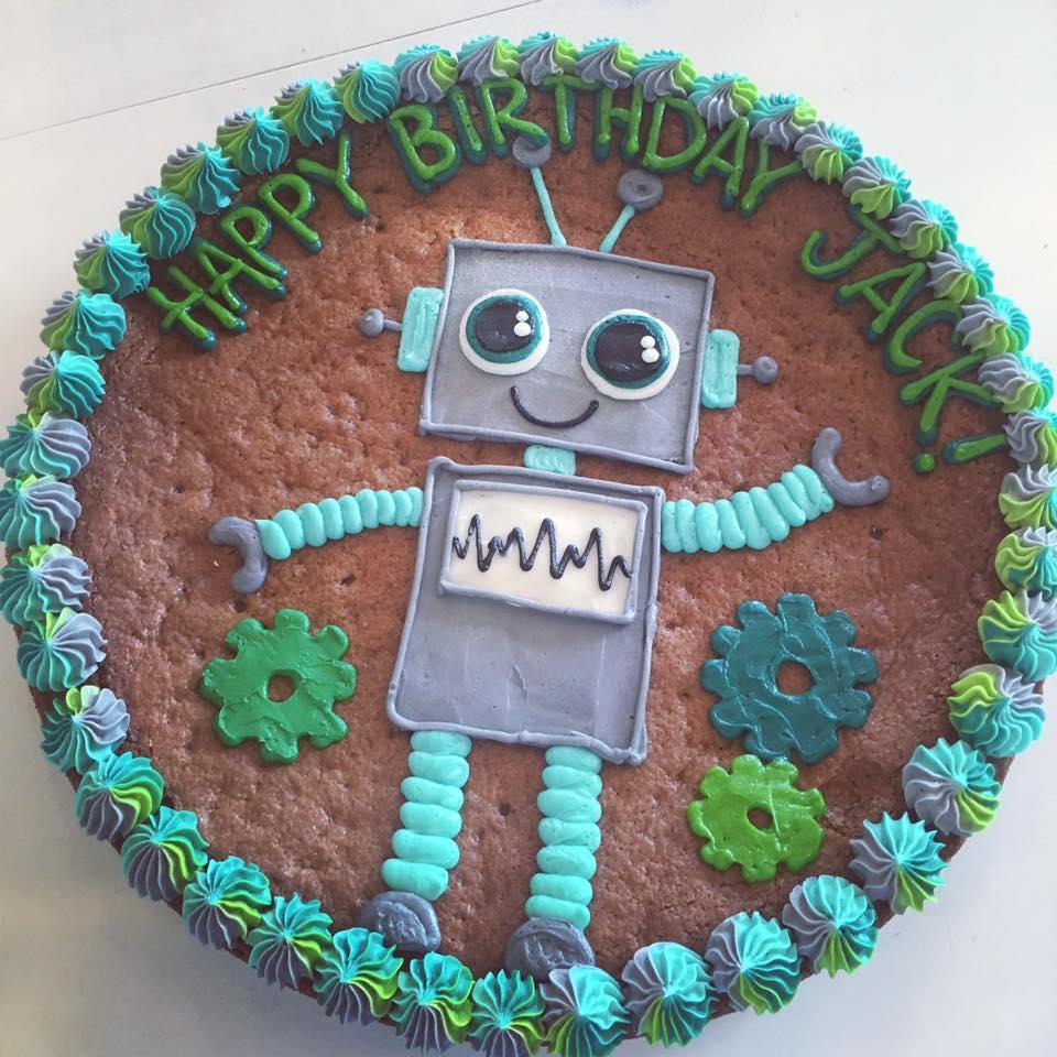 Brilliant Robot Cookie Cake Hayley Cakes And Cookieshayley Cakes And Cookies Funny Birthday Cards Online Alyptdamsfinfo