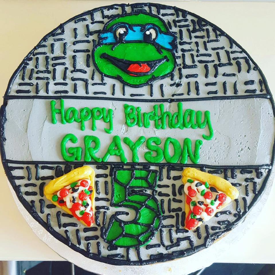 Ninja Turtles sewer cookie cake - Hayley Cakes and