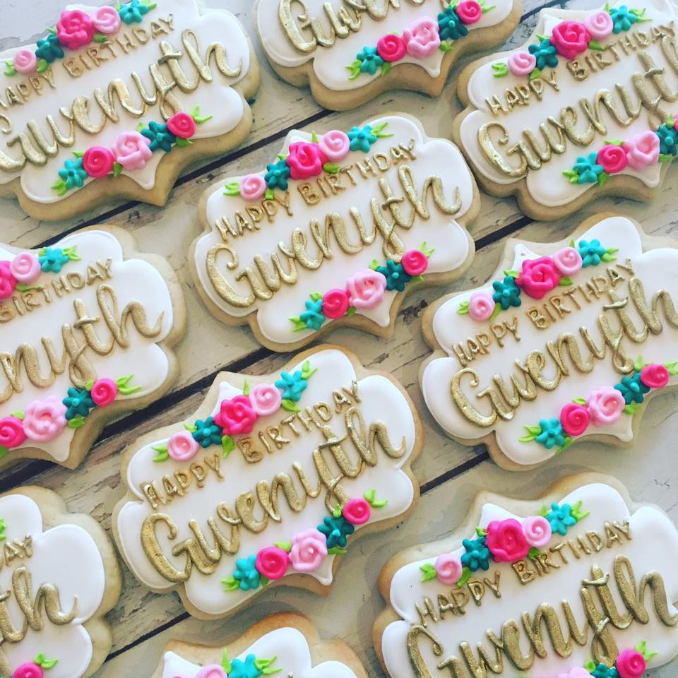 Gold Name And Floral Birthday Cookies
