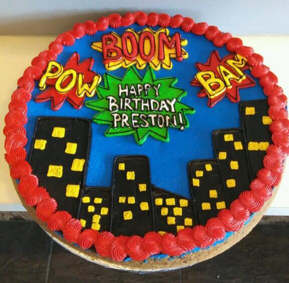 Astonishing Superhero City Scape Cookie Cake Hayley Cakes And Cookieshayley Personalised Birthday Cards Veneteletsinfo