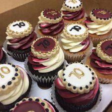 maroon white cupcakes