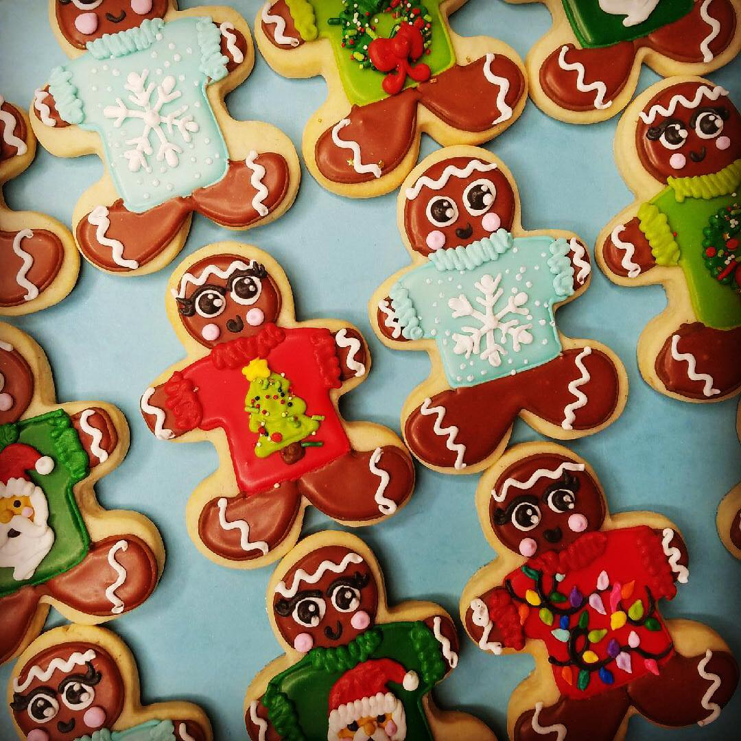 Gingerbread Men Wearing Ugly Christmas Sweater Cookies Hayley Cakes And Cookieshayley Cakes And Cookies