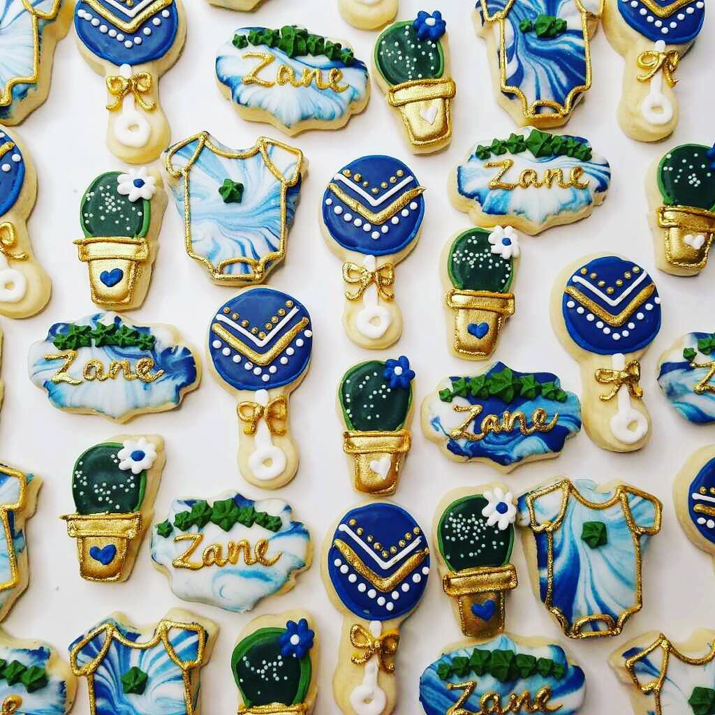 Mini Marbled Succulent Baby Shower Cookies Hayley Cakes And Cookieshayley Cakes And Cookies