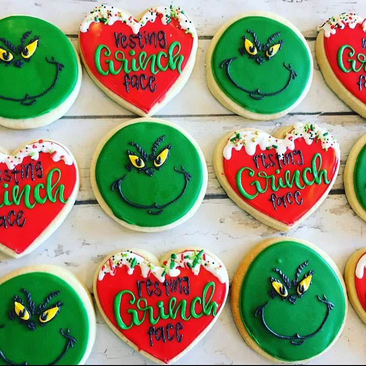 88557ff25f6b1 Resting Grinch Face Cookie set - Hayley Cakes and CookiesHayley ...