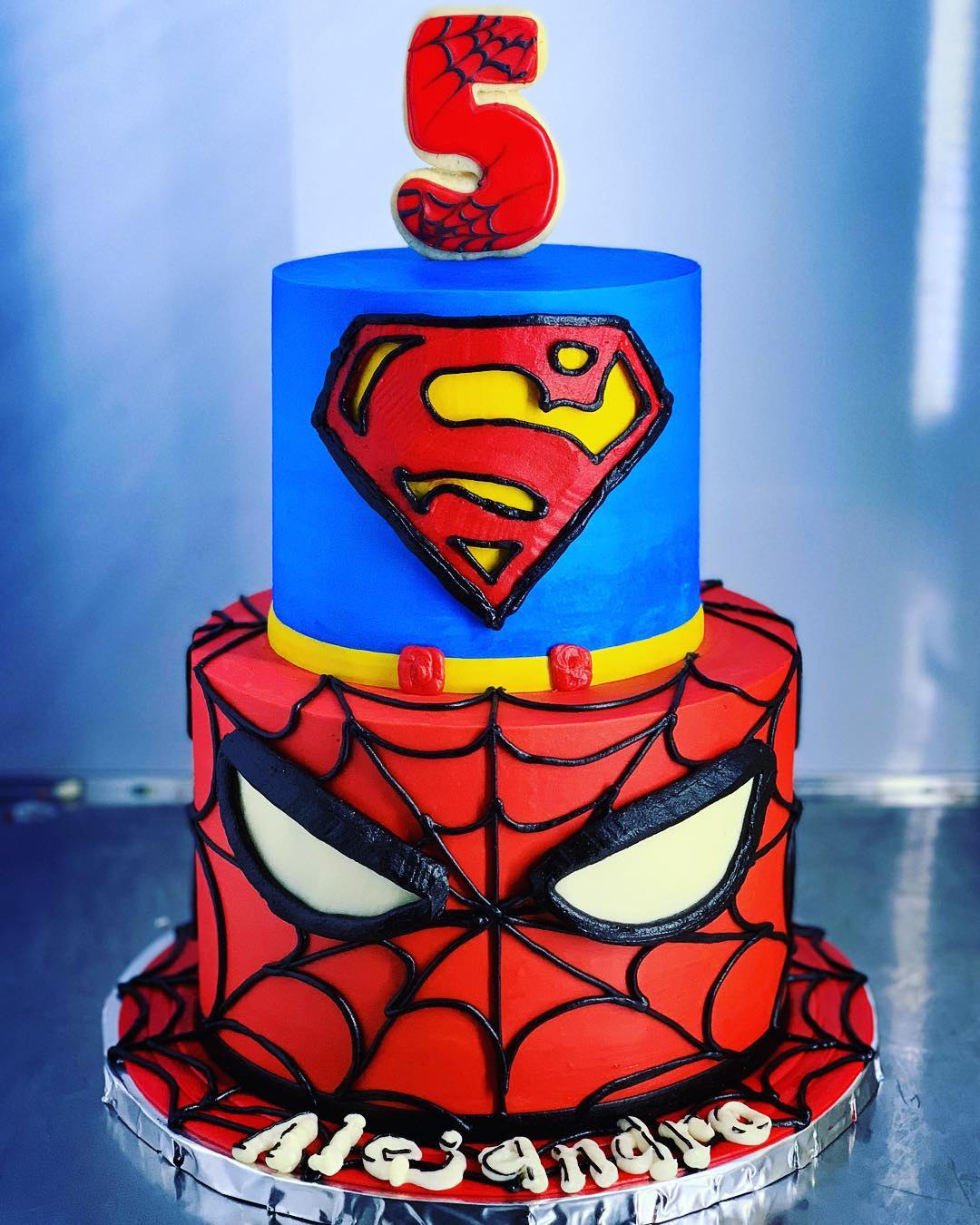Prime Spiderman And Superman Superhero Cake Hayley Cakes And Funny Birthday Cards Online Bapapcheapnameinfo