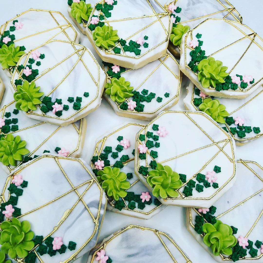 Hexagon Marbled Succulent Cookies On Gold Frame Hayley Cakes And Cookieshayley Cakes And Cookies